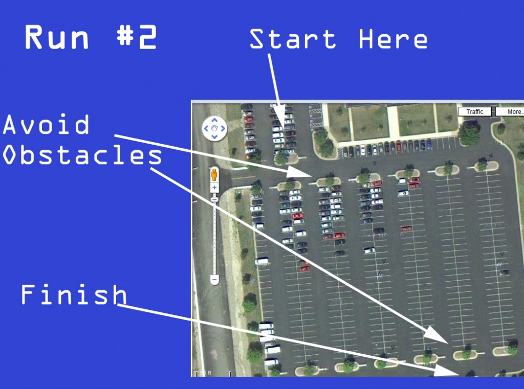 Run 2 - The Mindstorms NXT GPS sensor Makes it around obstacles.