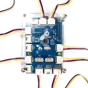 GrovePi+ in case with wires coming out top view stylized