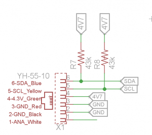 Diagram of the Pullup Resistors used to connect an I2C line to the NXT.