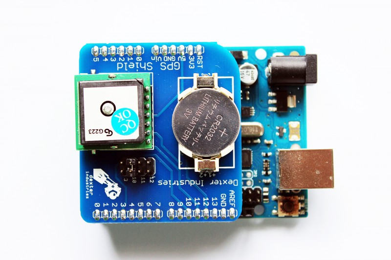 Arduino GPS Shield Mounted on the Arduino Uno.