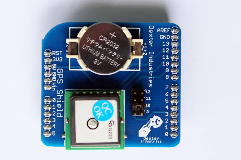 Top View of the Arduino GPS Shield.