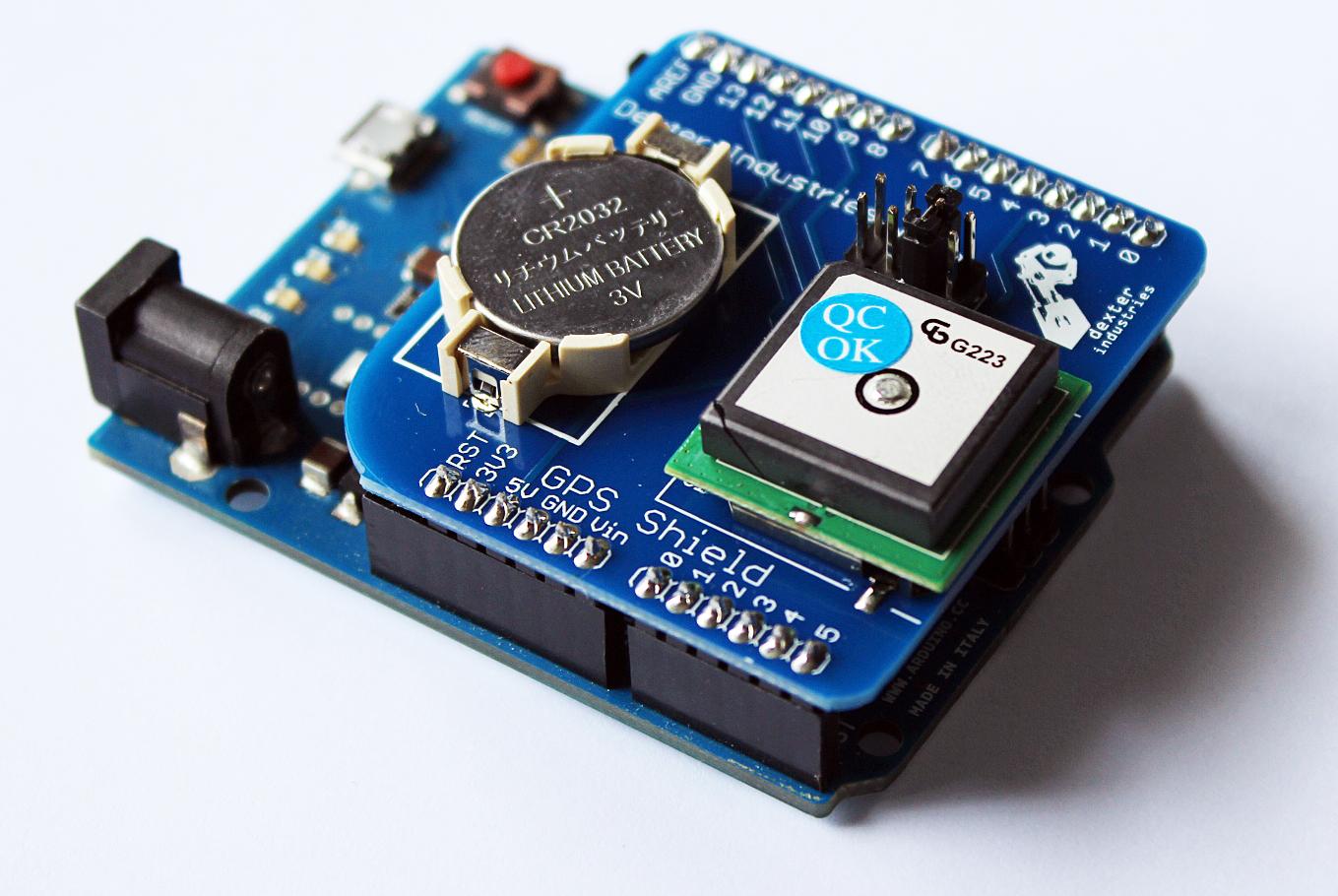 Arduino GPS Shield on the Leonardo.