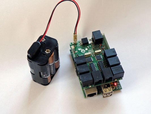 BrickPi with a Power Pack Attached