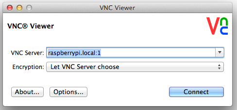 Log in to your pi via vnc