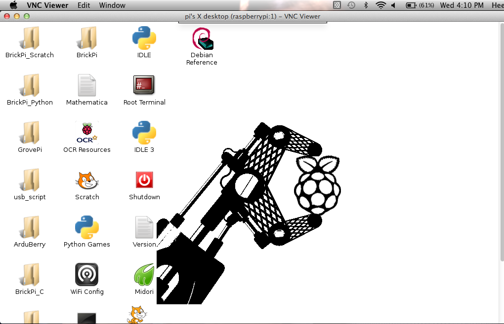 VNC Logged into Raspberry Pi from Mac OS X