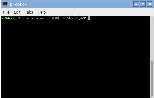 Starting Minicom with 9600 Baud