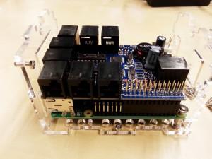 Attach the BrickPi to the Raspberry Pi B+.