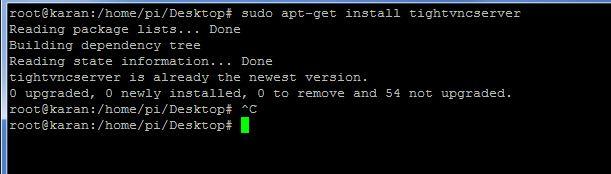 Install VNC server on the pi