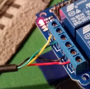 Wiring the Switch to the Relay.  lionel train switch control with a raspberry pi.