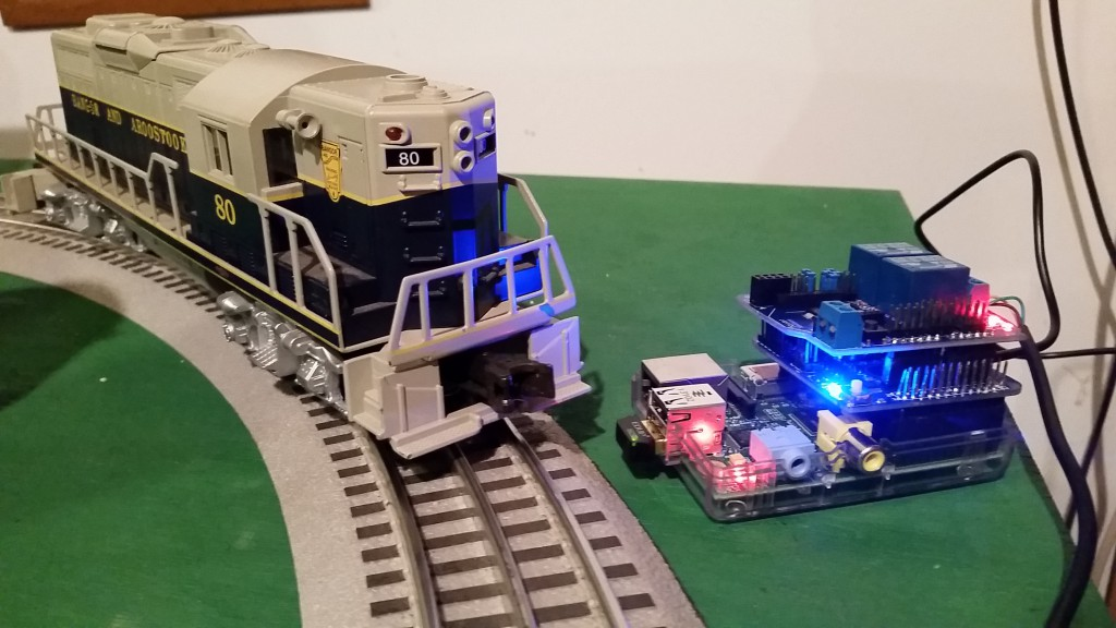 A Raspberry Pi Controlling a BIG Lionel Train Switch and Locomotive.