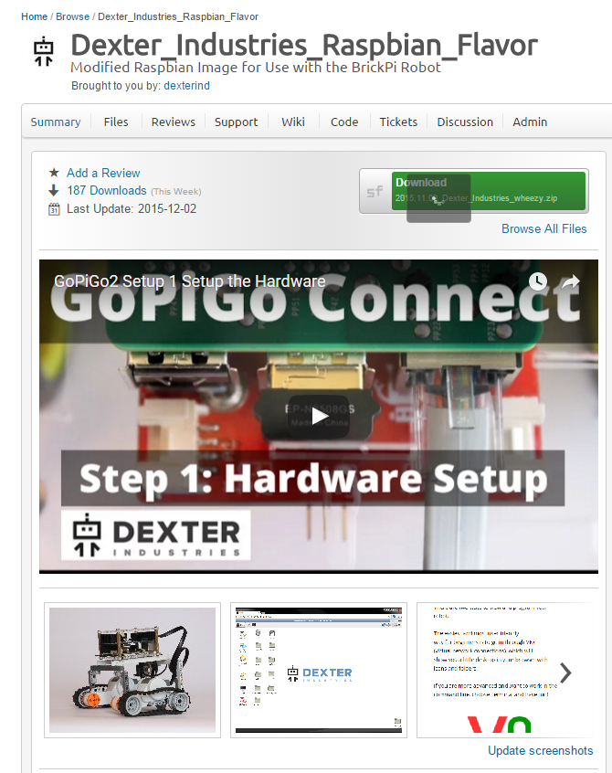 sourceforge_page_for_raspbian_for_robots