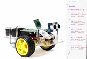 GoPiGo is analyzed by Google Cloud Vision using the Raspberry PI.