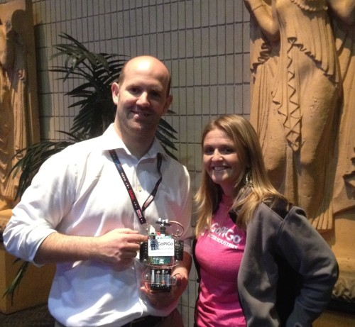 Eben Upton of Raspberry Pi Foundation & Taryn Sullivan of Dexter Industries. Oh, and don't forget little GoPiGo!