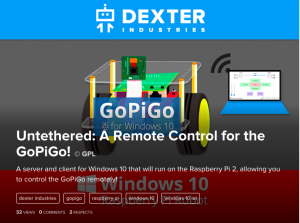 Windows 10 and the GoPiGo