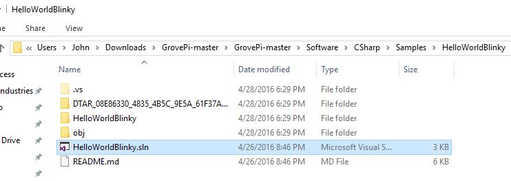 HelloWorldBlinky-File-Location-WinIoT