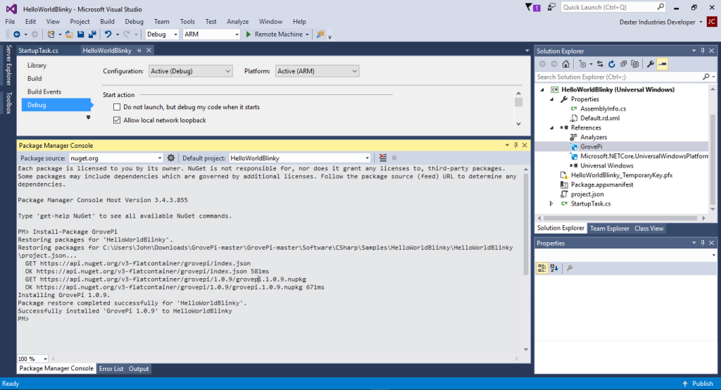 Package-Manager-NuGet-GrovePi