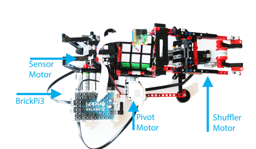 Motor Layout and Connections Diagram for Solving a Rubiks Cube